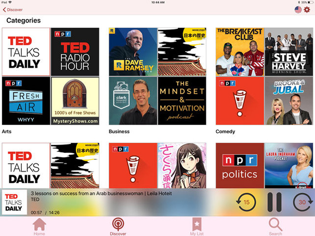 Nouvelle application Podcasts myTuner sur iOS