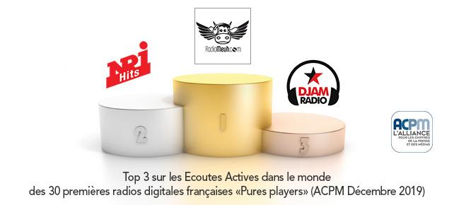 Classement ACPM des radios digitales en Décembre 2019