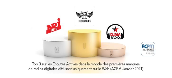 Classement ACPM des radios digitales en Janvier 2021